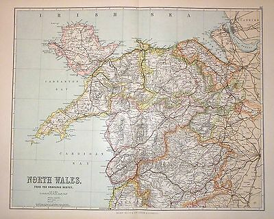 1901 Large Victorian County Map ~ North Wales ~ Montgomery Anglesey Eifion