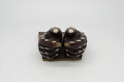 Brown carved pair hand giving card / visiting card / business card holder