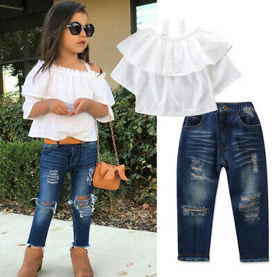 Toddler Kids Baby Girls Outfits Cold Shoulder T-shirt Tops+Denim Pants Jeans Sui