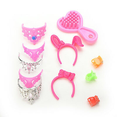 40 pcs/Set Jewelry Necklace Earring Comb Shoes Crown Accessory For   Dolls