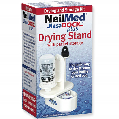 NEW NeilMed NasaDock Plus Sinus Rinse Drying Stand With Packet Storage