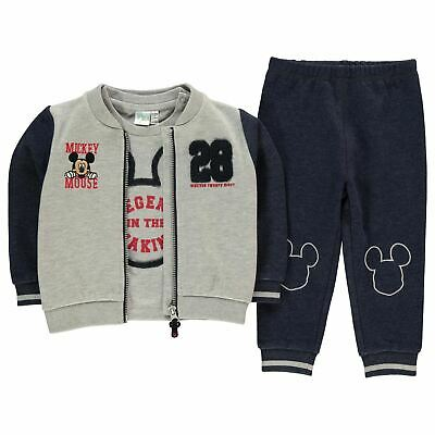 Mickey Mouse 3 Piece Jacket Jogger Set Baby Boys Character Wear Grey/Blue