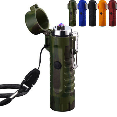 2 in 1 USB Dual Arc Cigarette Lighter Outdoor Camping Waterproof LED Light Torch