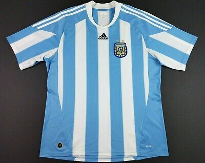 7779f372e Adidas Mens 2009 Argentina National Team Soccer Jersey XL Striped FIFA  World Cup