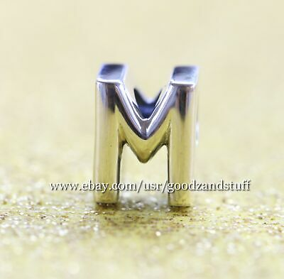Letter M Authentic Pandora Sterling Silver Reversible Charm 797467