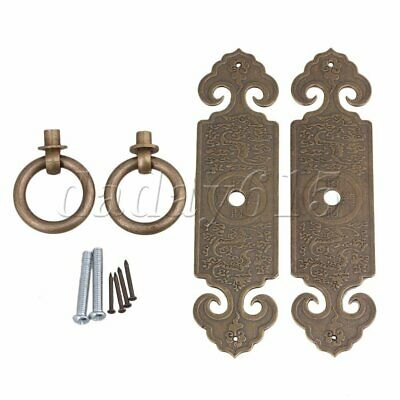 2pcs Chinese Antique Brass Strip Pull Handle 12x3.2x0.12cm for Doors Bronze
