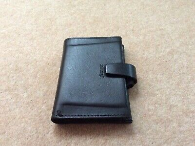 Mini black leather Filofax - hardly used, card holder, address,  personal info.