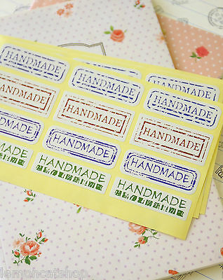 Vintage Style Handmade Label Stickers zakka rustic gift craft seal labels 40pc