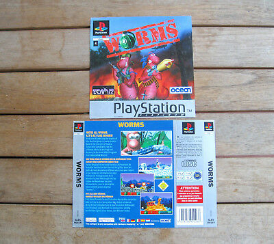 Worms (1997) Playstation 1 Cover Originale, No Disco