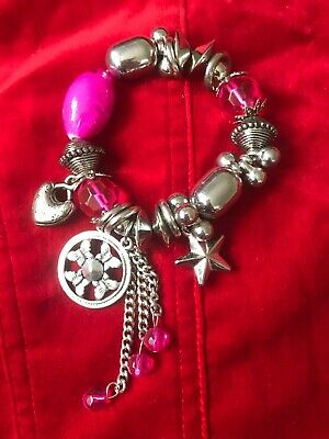 Stretch Bracelet Pink Silver Coloured Plastic Beads Assorted Charms