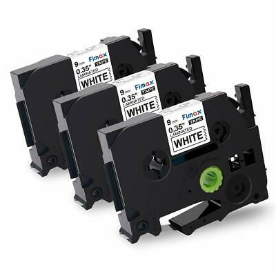 3PK TZe221 TZ 221 TZ221 Black On White 9mm Label Tape Compatible Brother P-Touch