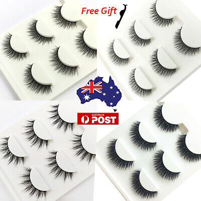 3D Mink Natural False Eyelashes Wispy Cross Long Thick Sexy Fake Eye Lashes Set