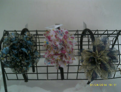 hairband with floral printed fabric flower comes on black headband in 3 colours