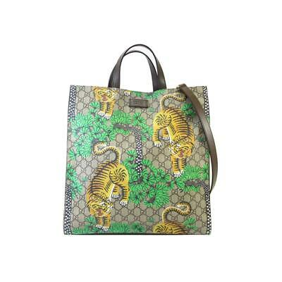 9aac1dc3828 Auth GUCCI GG Supreme Bengal Tiger Shoulder Tote Bag Beige Coated Canvas  450950