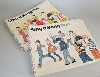 Vintage set of two sing a song music books childrens learn to play instrument