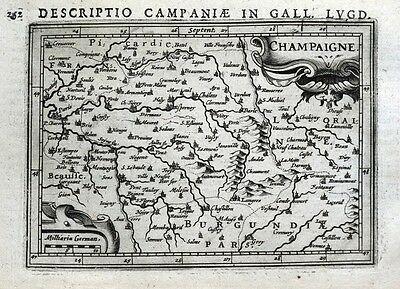 CHAMPAGNE, FRANCE, EPERNAY, TROYES, REIMS, VERDUN, P.BERTIUS antique map 1618