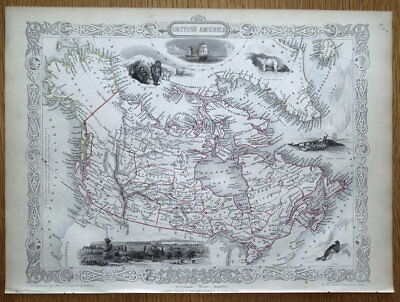 BRITISH AMERICA, CANADA, Rapkin & Tallis original antique map 1851