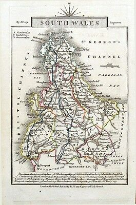 SOUTH WALES John Cary  Hand Coloured Miniature Antique County Map 1819