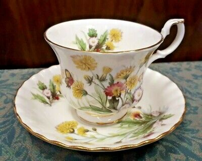 Royal Albert Country Life Series Tea Cup & Saucer - Meadow Flowers & Butterfly