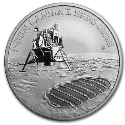 2019 Perth Mint 50th Anniversary of the Moon Landing 1oz .9999 Fine Silver coin.