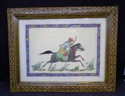 A Large Vintage Old Middle East Persian Gouache Painting Camel Bone Khatam Frame