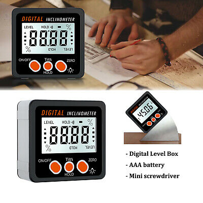 LCD Digital Bevel Box Gauge Angle Finder Protractor Magnetic Inclinometer IP54