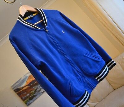 Polo Ralph Lauren Boys Track Varsity Zip up Blue Jumper Sz L Age 14-16 - 40""