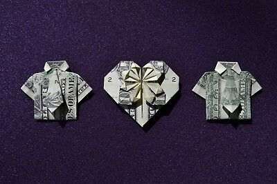 ORIGAMI Heart + Shirt & Tie x 2 made from crisp $1 dollar bill note FREE P&P