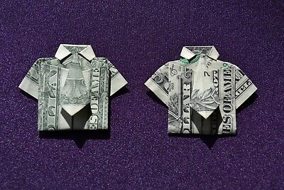 ORIGAMI Shirt & Tie x 2 made from crisp $1 dollar bill note FREE P&P