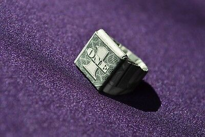 ORIGAMI Ring made from crisp $1 dollar bill note FREE P&P UK