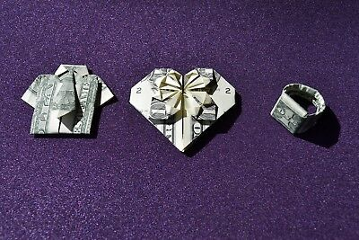 ORIGAMI Trio Heart, Shirt & Tie, Ring from crisp $1 dollar bill note FREE P&P