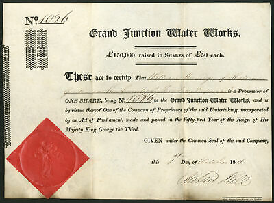 Grand Junction Water Works, £50 share, 1811, #1026, GVF