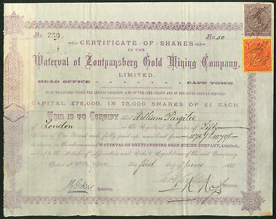 South Africa: Waterval of Zoutpansberg Gold Mining Co. Ltd., £1 shares, 1888