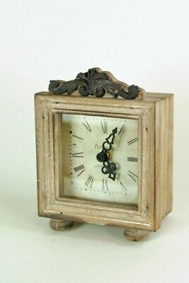 Clock Small Wooden Clock Freestanding Mantle With Scroll Detail