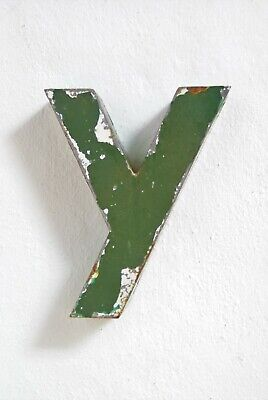 """1930s French Metal Letter y Shop Sign Painted Green ORIGINAL Industrial 6"""" Tall"""