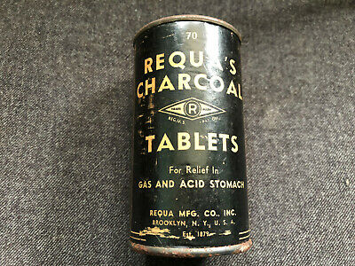 Vintage REQUA'S CHARCOAL TABLETS #70 Tin Can Gas & Acid Stmoach QUACK MEDICINE