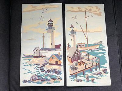Fantastic PAINT BY NUMBERS Hand Paintings 2pcs LIGHTHOUSE BOAT BIRDS OCEAN BAY