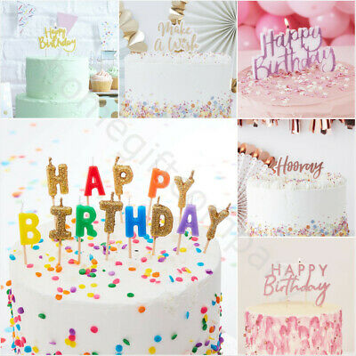 Happy Birthday Glitter Candle Cake Topper Party Cake Decoration Gold/Silver/Pink