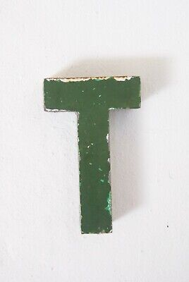 """1930s French Metal Letter T Shop Sign Painted Green ORIGINAL Industrial 6"""""""