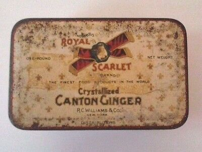Vintage NY ROYAL SCARLET CANTON GINGER Spice 1 LB TIN Hinged Lid Advertising