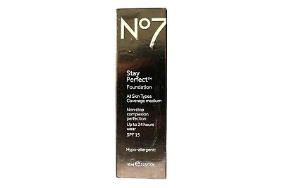 No7 Stay Perfect Foundation Coverage Medium SPF 15 30ml - Please Choose Shade: