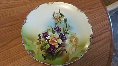 "Vintage Crooksville China Co.stinthal China 9.5"" Plate Violets Daffodils"