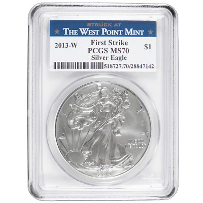 2013-W $1 Burnished American Silver Eagle PCGS MS70 First Strike West Point Labe