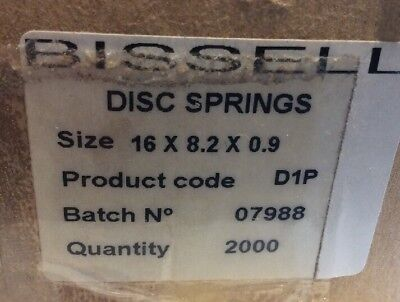 NOS BISSELL D1P Disc Spring 16mm x 8.2mm x 0.9mm DIN2093 qty 2000 (BX)