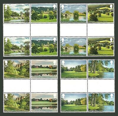Gb 2016 Landscape Gardens Capability Brown Trees Castles Gutter Pairs Set Mnh