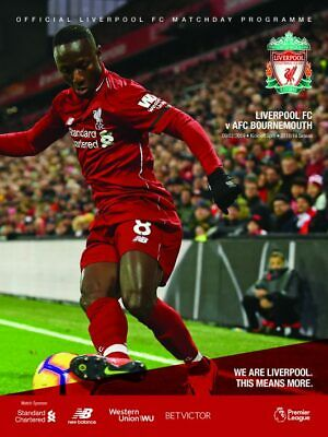 Liverpool v AFC Bournemouth match programme brand new mint condition 09.02.19