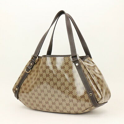 d1fcf47ed1ef AUTH GUCCI CRYSTAL GG 189669 Gold Black Coated Canvas Tote Bag - EUR ...