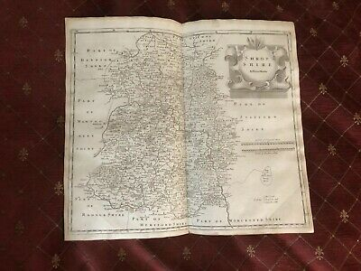 1695 COUNTY of SHROPSHIRE Original English Antique Map  Robert Morden RARE