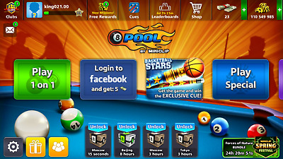 8 Ball Pool Account with 110 Million Coins 23 Cash Level 13