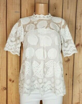 HD *IN PARIS* Anthropologie Womens Size 8 Short Sleeve Button Crew Neck Lace Top